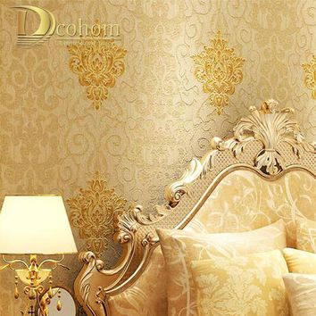 Vintage Classic European Luxury Beige Red Damask Wallpaper For Walls 3 D Wall Paper For Bedroom Living Room Home Decor Mural