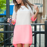 Color Block This Way Dress, Neon Pink