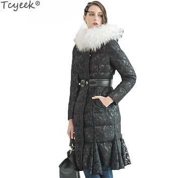 Tcyeek New 2017 90% Down Jacket Female Elegant Lace Fish Tail parka Women Raccoon Fur Lady Black Clothing Abrigos Mujer LX1292