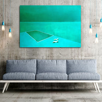Sea View n.5 - Original Painting, Canvas Art, Large Wall Art, Acrylic Painting, Ready to hang, Green Teal Sea Landscape