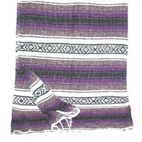 Large Purple/white/black Mexican Falsa Blanket Yoga Mat Made in Mexico