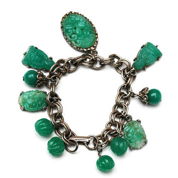 Green Glass Charm Bracelet - Asian Buddha - Peking molded Glass - Silver chain  - Cha cha Dangle bangle