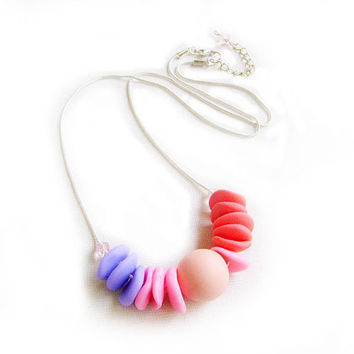 Pastel Geometric Necklace -  Sugargirl Necklace in Pink, Puplre, Peach, Coral,  Color Block Handmade Polymer Clay Beaded Necklace