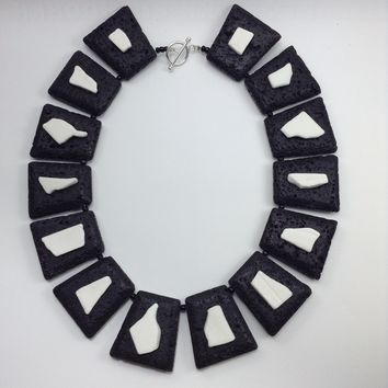 ALL NEW Basic Black Lava and Porcelain Necklace