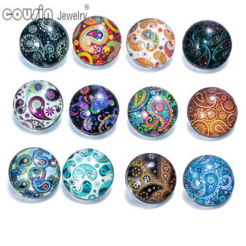 12pcs/lot Mixed Colors Exotic 18mm Glass snap button Jewelry Faceted glass Snap Fit snap Bracelet ginger snap jewelry KZ0088
