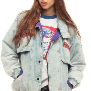 80s Denim Jacket ACID WASH Jean Jacket Oversize AZTEC 90s Grunge Coat Bleached Faded 1980s Vintage Biker Hipster Tribal Retro Small Medium