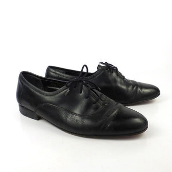 Black Leather Shoes Vintage 1980s Oxfords Giorgio Brutini men's size 10 D