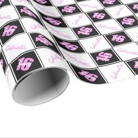 Pink Black Sweet 16 Personalized Wrapping Paper