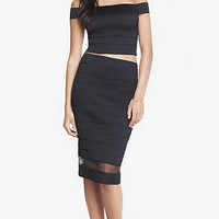 Elastic Stripe High Waist Sheer Inset Midi Skirt from EXPRESS