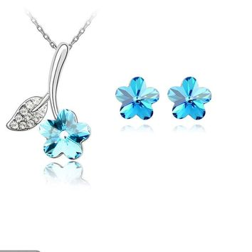 New 2015 Wholesale factory Direct Selling Flower Pendant Necklace Stud Earring For Women Wedding engagement Jewelry