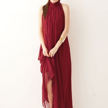 Bohemian dress Super fairy perfect goddess XiaoJian hanging neck collar chiffon dress Long dress skirt #lcmq = 1928726596