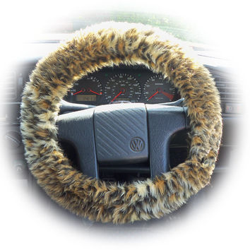 fuzzy faux fur baby Leopard print cub car steering wheel cover fluffy and furry animal print