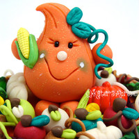 Fall HARVEST Pumpkin Parker StoryBook Scene - Polymer Clay Character - Limited Edition Sculpture