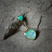 Two Hearts Opal Golden Belly Button Ring 14ga Navel Ring Non Dangle Body Jewelry