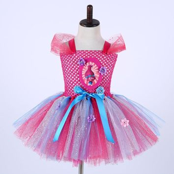 Girls Trolls Tutu Dress For Pageant Bling Ball Gown Cute Cartoon Poppy Kids Fluffy Birthday Party Dress Girls Costume