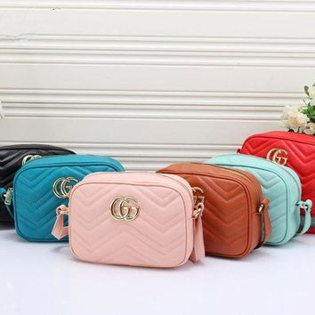 DCCKH3L Gucci' Women Simple Fashion Zip Double G Logo Wave Stripe Single Shoulder Messenger Bag Camera Bag