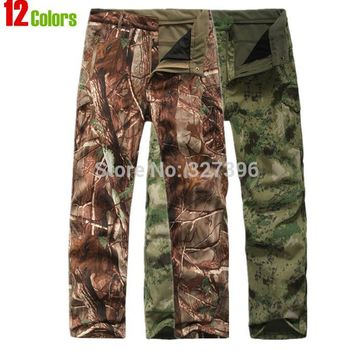 Shark Skin Softshell Outdoors Tactical Military Camouflage Pants Men Winter Army Waterproof Thermal Camo Hunt Hike Fleece Pants