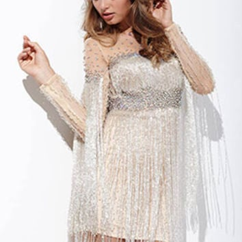 Jeweled Sheer Neck Short Dress 26510