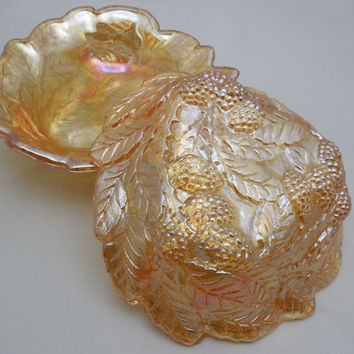 "Indiana Glass Loganberry Dishes 7 1/4"" Wide, Vintage 2 Bon Bon Dishes, Iridescent Carnival Glass made in the 1970s 1980s, Iridescent Orange"