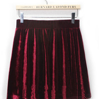 Pleated High Waist Pleuche Velvet Skirt