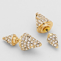 Gold Double Sided Rhinestone Cone Earrings