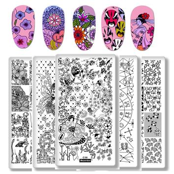 1Pcs Rectangle Stamping Template Fairy Tales Constellation Nail Art Image Plate Japanese Geisha Puppy Manicure Stencil Tools