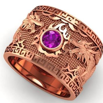 Purple Dragon Rose Gold Wide Band Mens Ring Amethyst Ring Gift for Man Large Engraved Heavy Ring Unique Ring Engagement Ring Wedding Ring