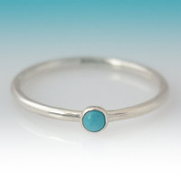 Dainty Turquoise ring - Stackable Sterling Silver Turquoise ring - 3mm stone