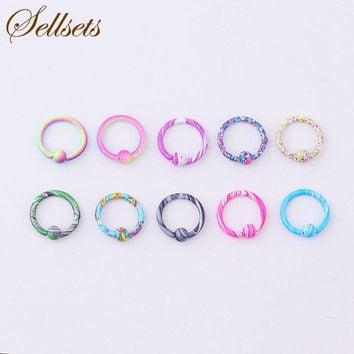 Sellsets Body Piercing Jewelry Mix 10pcs 16G Stainless Steel New Color Hoop Nose Eyebrow Lip Tragus Earring Captive Bead Ring