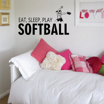 Eat Sleep Play Softball Sports Decal Sticker Wall Vinyl