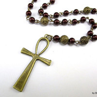 Anglican Prayer Beads in Dark Burgundy Swarovski Pearls with Contemporary Cross