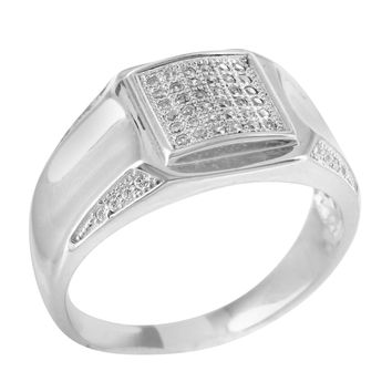 Mens Lab Diamond 14k White Gold Finish Pinky Ring
