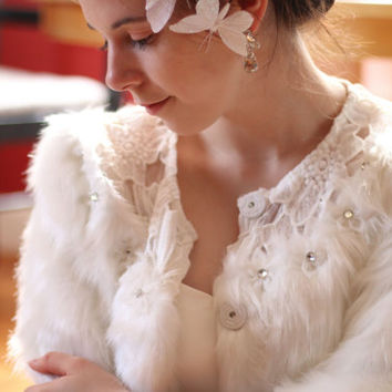 White 3/4 Sleeve Artificially Manufactured Faux Fur Wedding Coat Bolero Jacket Accented with Lace and Rhinestone Flower Details