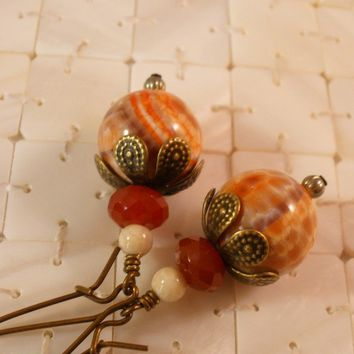 Orange Fire Agate, Carnelian, and River Stone Earrings on Antiqued Brass, Nature Jewelry