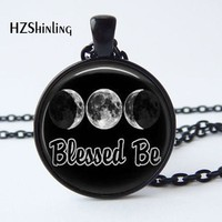 2017 New Arrival Wiccan Pendant Necklace Witchcraft Pagan Pentagram Black   Magic Necklace  Glass cabochon Jewelry HZ1