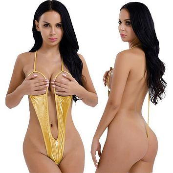 Metallic Gold Extreme Open Bust & Crotch Thong G-String One Piece Swimsuit