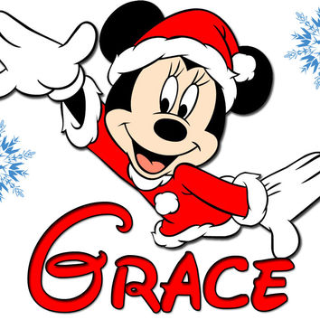 Personalized Disney Christmas NAME Shirts T-shirt Minnie Mouse Very Cute!