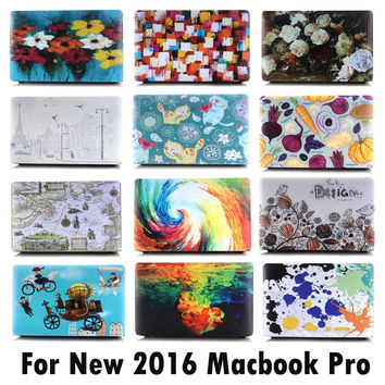 "For 2016 New Macbook Pro 13 15 13.3"" 15.4"" Touch Bar A1706/A1708/A1707 Fashion Oil Painting Cartoon Flower Matte Hard Cover Case"
