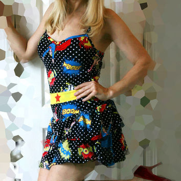 Wonder Woman DC Comics Dress, Cute Fun Super Girl Super Hero Inspired Costume /Dress.