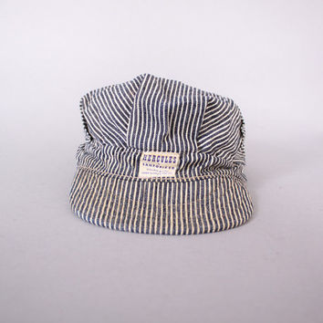 Vintage 60s RAILROAD HAT / 1960s HERCULES Sears Sanforized Hickory Stripe Denim Engineer Men's Cap