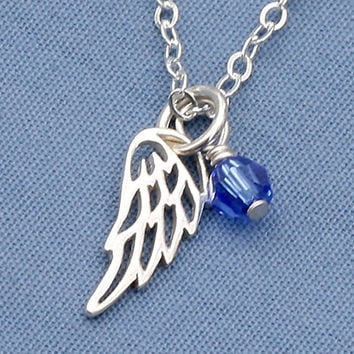 Angel Wing Necklace,Birthstone,Sterling Silver,Swarovski Crystal, Personlized,Small,Tiny,Petite,Memorial Neckalce,Faith,Everyday