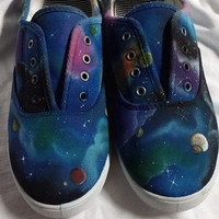 GallifreyanMarket's version of the Hand Painted Galaxy/Space Shoe- Choose your colors or add planets