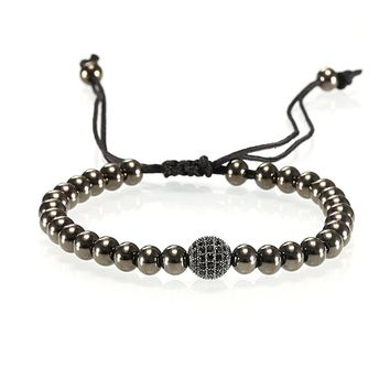 Adjustable Nylon Black Rope String Stainless Steel Bead 6mm and Zircon Paved Ball Bracelet