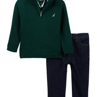 Woven Knit Sweater, Shirt, & Denim Pant Set (Baby Boys)
