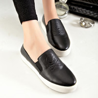 Leather Fashion Casual Skull Thick Crust Shoes [4920520324]