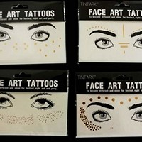 4 Pcs Womens Bronzing Temporary Face Tattoos Stickers Glitter Disposable Waterproof Beauty Freckles Makeup Body Art Tattoo