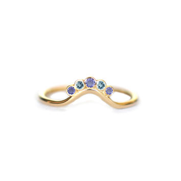 14kt Gold Tanzanite and Topaz Exotic Sunrise Ring