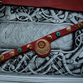 Fancy red leather . brass an turquoise cat collar