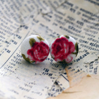 Vintage Inspired Rosy Button Earrings - Rose Earrings - Fabric Buttons - Vintage Rose - Red Rose
