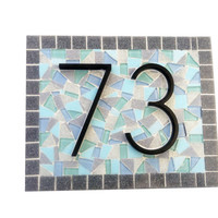 Mosaic Address Sign for Beach House, House Number Plaque in Blues and Grays